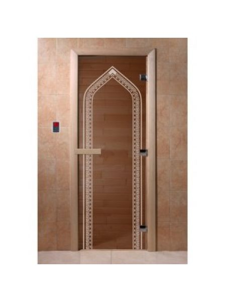 "Дверь для бани ""Арка"" стекло бронза прозрачное коробка ольха 70х190см"