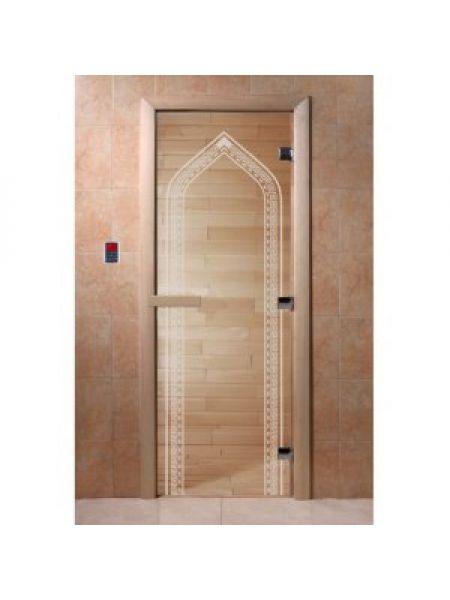 "Дверь для бани ""Арка"" стекло прозрачная коробка ольха 70х190см"