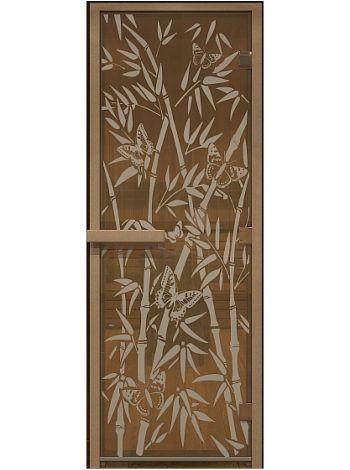 """Дверь для бани """"Бабочки"""" стекло бронза прозрачное коробка ольха 70x190см"""