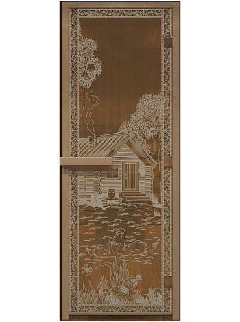 """Дверь """"Банька в лесу"""" бронза прозрачная 70x190см"""