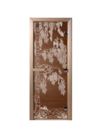 """Дверь для бани """"Березка"""" стекло бронза прозрачное коробка ольха 70x190см"""