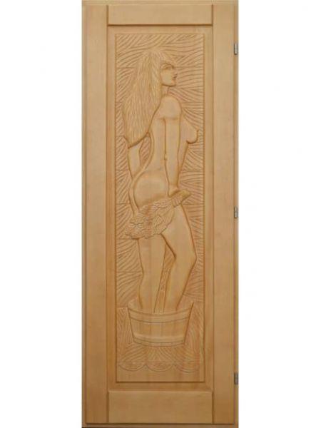 """Дверь для бани кавказская липа с петлями """"Панно"""" женщина"""