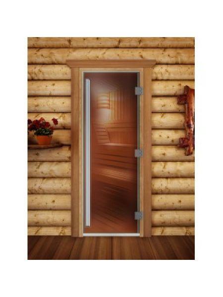 """Дверь для бани престиж """"бронза прозрачная"""" коробка ольха"""