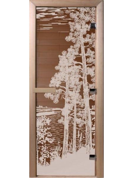 """Дверь для бани """"Рассвет"""" бронза матовая 70х190см"""