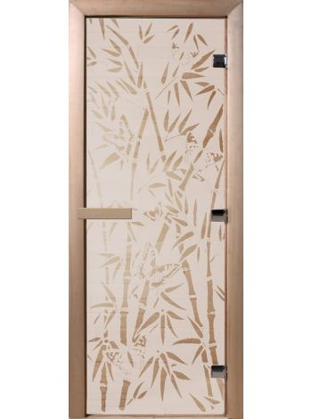 """Дверь для бани """"Сатинит бабочки"""" стекло сатиновое 70х190см DW00059"""