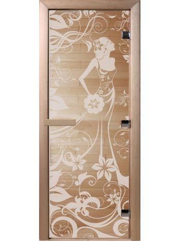 """Дверь для бани """"Сатинит девушка в цветах"""" стекло сатиновое 70х190см DW01060"""