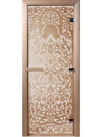 """Дверь для бани """" Флоренция"""" стекло сатиновое коробка ольха 70х190см"""
