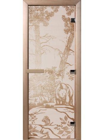 """Дверь для бани """"Mишки"""" стекло сатиновое коробка ольха 70х190см"""