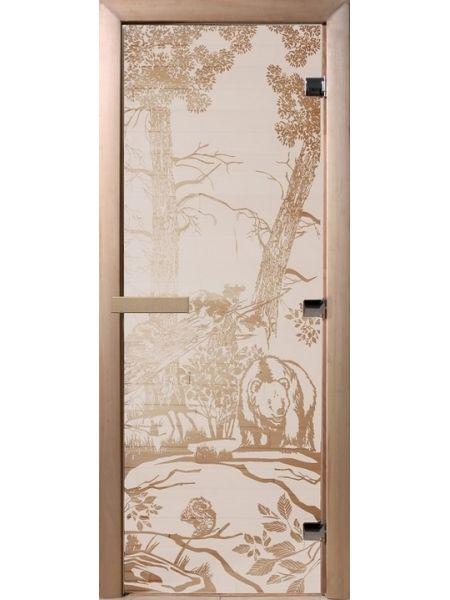"""Дверь для бани """"Сатинит мишки"""" стекло сатиновое 70х190см DW00936"""