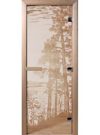 """Дверь для бани """"Рассвет"""" стекло сатиновое коробка ольха 70х190см"""