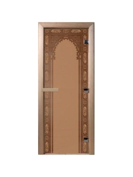 """Дверь для бани """"Восточная арка"""" бронза матовая 70х190 см"""