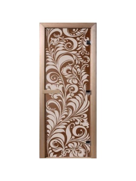 """Дверь для бани """"Хохлома"""" стекло бронза прозрачная 70х190см DW01211"""