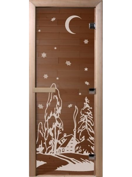 "Дверь для бани ""Зима"" бронза прозрачная 70х190см"