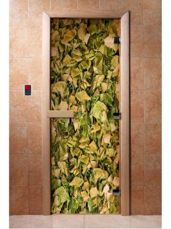 Стеклянная дверь для бани и сауны с фотопечатью 190*70 А001