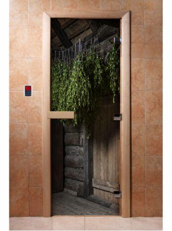 Стеклянная дверь для бани и сауны с фотопечатью 190*70 А002