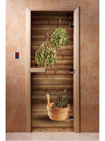 Стеклянная дверь для бани и сауны с фотопечатью 190*70 А004