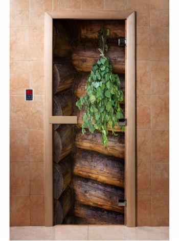 Стеклянная дверь для бани и сауны с фотопечатью 190*70 А007