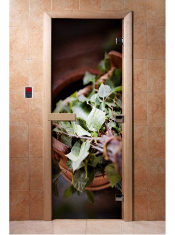Стеклянная дверь для бани и сауны с фотопечатью 190*70 А008