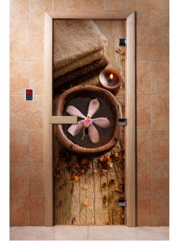 Стеклянная дверь для бани и сауны с фотопечатью 190*70 А009