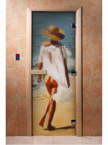 Стеклянная дверь для бани и сауны с фотопечатью 190*70 А013