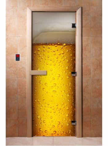 Стеклянная дверь для бани и сауны с фотопечатью 190*70 А014