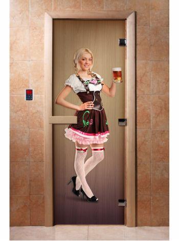 Стеклянная дверь для бани и сауны с фотопечатью 190*70 А016