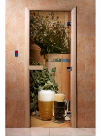 Стеклянная дверь для бани и сауны с фотопечатью 190*70 А017
