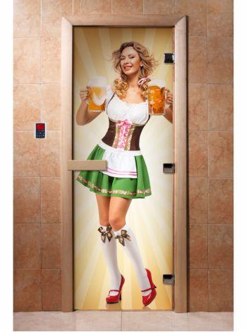 Стеклянная дверь для бани и сауны с фотопечатью 190*70 А018