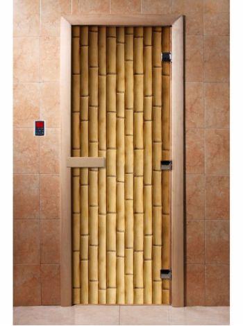 Стеклянная дверь для бани и сауны с фотопечатью 190*70 А019
