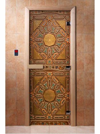 Стеклянная дверь для бани и сауны с фотопечатью 190*70 А022