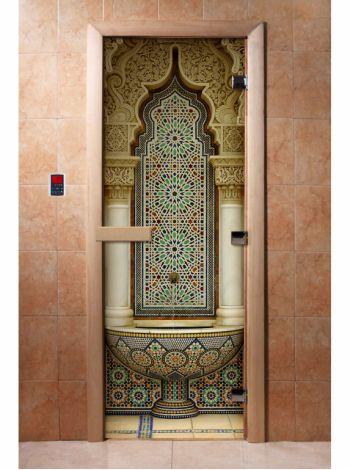 Стеклянная дверь для бани и сауны с фотопечатью 190*70 А025