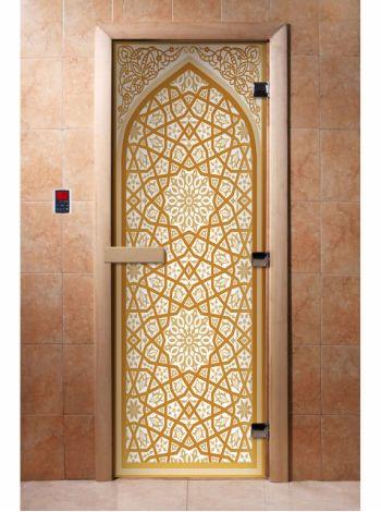 Стеклянная дверь для бани и сауны с фотопечатью 190*70 А026