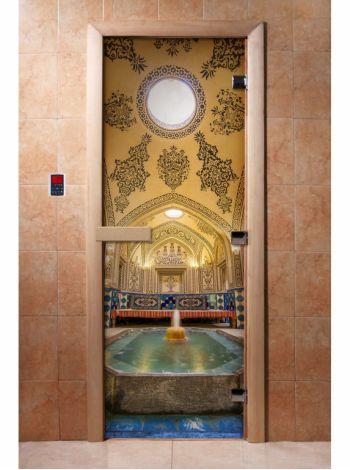 Стеклянная дверь для бани и сауны с фотопечатью 190*70 А027