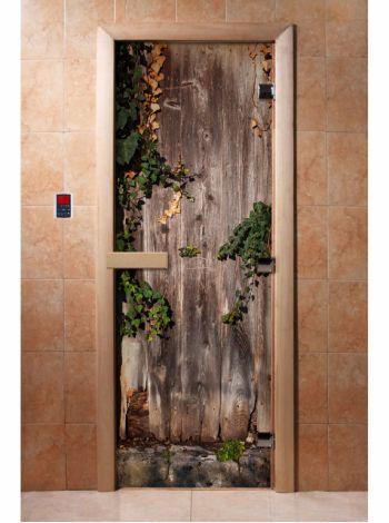 Стеклянная дверь для бани и сауны с фотопечатью 190*70 А030