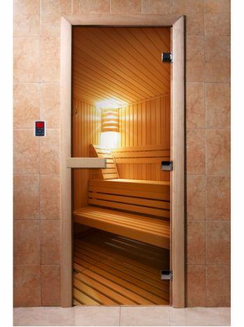 Стеклянная дверь для бани и сауны с фотопечатью 190*70 А031