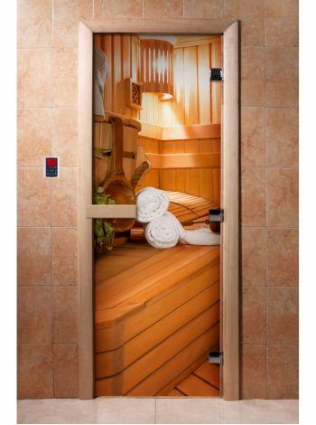 Стеклянная дверь для бани и сауны с фотопечатью 190*70 А032