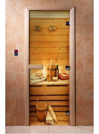 Стеклянная дверь для бани и сауны с фотопечатью 190*70 А033