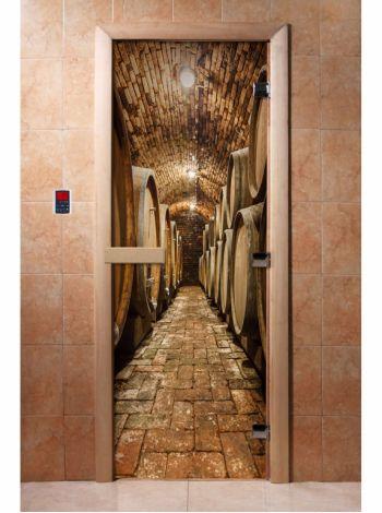Стеклянная дверь для бани и сауны с фотопечатью 190*70 А034