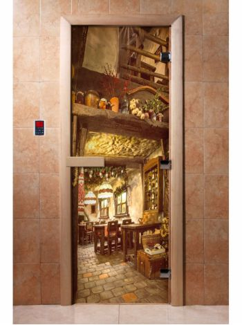Стеклянная дверь для бани и сауны с фотопечатью 190*70 А035