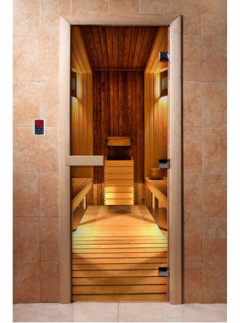 Стеклянная дверь для бани и сауны с фотопечатью 190*70 А036