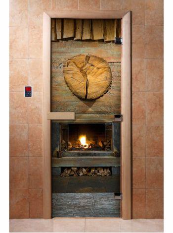 Стеклянная дверь для бани и сауны с фотопечатью 190*70 А038