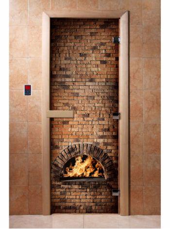 Стеклянная дверь для бани и сауны с фотопечатью 190*70 А039