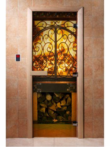 Стеклянная дверь для бани и сауны с фотопечатью 190*70 А041