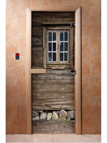 Стеклянная дверь для бани и сауны с фотопечатью 190*70 А042
