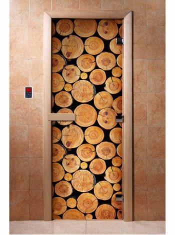 Стеклянная дверь для бани и сауны с фотопечатью 190*70 А043
