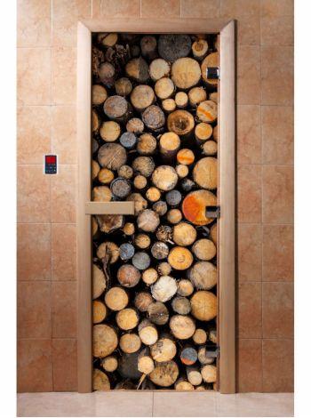 Стеклянная дверь для бани и сауны с фотопечатью 190*70 А045