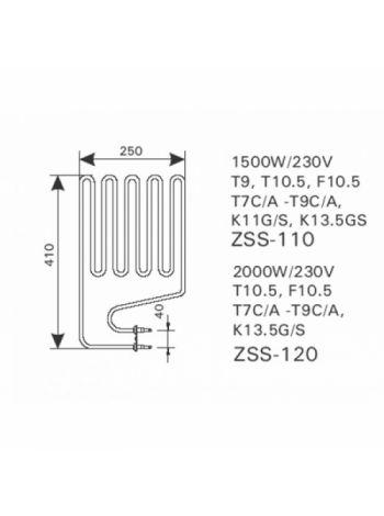 Тен 1,5 KW ZSS-110